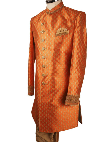 "Prachy Creations : Orange Brocade Sherwani with churidar trousers -  SNC868CY 1018, 38"" / Orange"