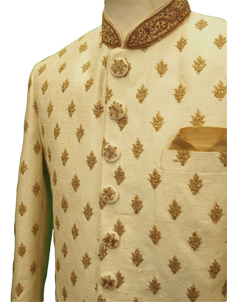 Prachy Creations : Hand embroidered Cream Sherwani with churidar trousers -  SNC88KYP 1018