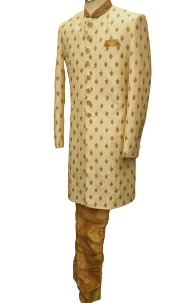 Hand embroidered Cream Sherwani with churidar trousers -  SNC88KYP 1018 - Prachy Creations