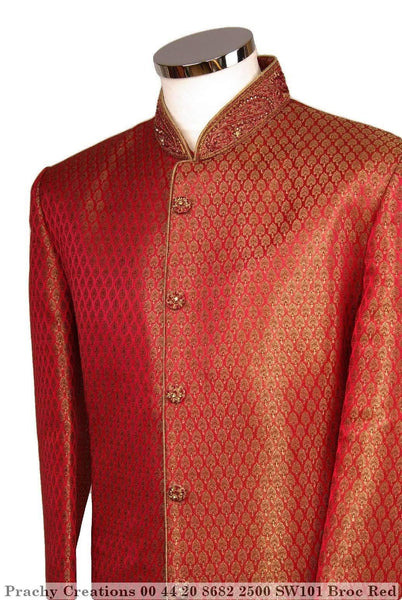 Prachy Creations : SW 101 - Sherwani - Brocade Red