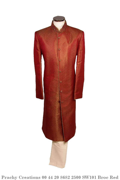 SW 101 - Sherwani - Brocade Red - Prachy Creations