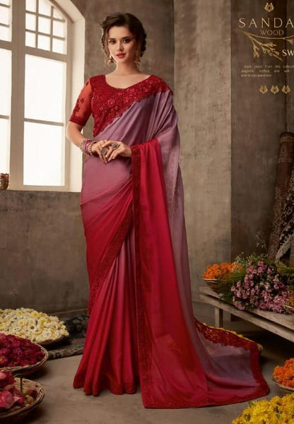 Designer Shaded Red Saree with embroidered Ready Blouse  -SW601 TC0220