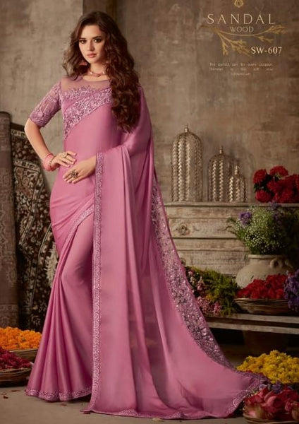 Designer Dusty Pink Saree with embroidered Ready Blouse  -Sw607 TC0220