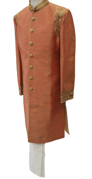Jute silk Sherwani in Coral Gold with churidar draw stringed trousers- DD-SW6103CY