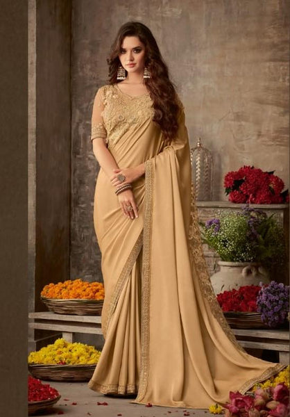 Designer Shaded Gold Beige Saree with embroidered Ready Blouse  -SW613 TC0220
