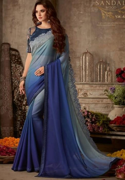 Designer Shaded Blue Saree with embroidered Ready Blouse  -SW615 TC0220