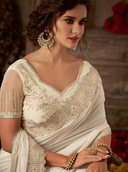 Designer Cream Saree with embroidered Ready Blouse  -SW617 TC0220