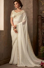 Designer Cream Saree with embroidered Ready Blouse  -SW617 TC0220 - Prachy Creations