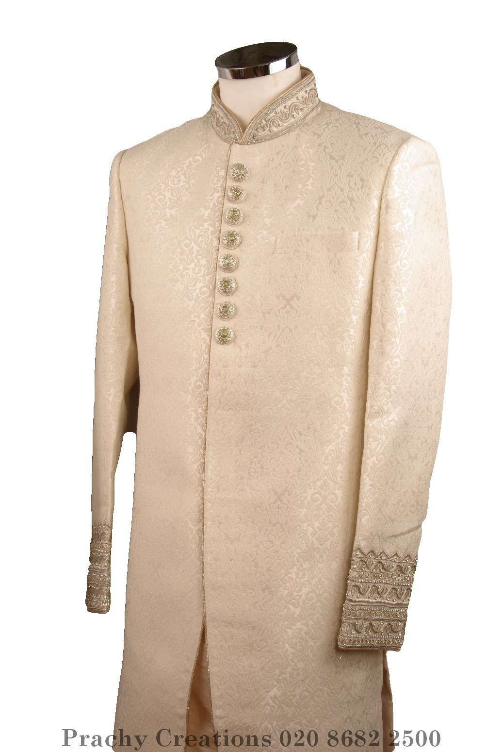 SW 6038 - Cream Brocade short Sherwani - ra 0616 - Prachy Creations