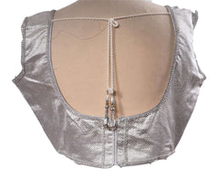 Silver Sleeveless Saree blouse , Back Fasten - Bollywood, Fancy dress - KJF5410H - Prachy Creations