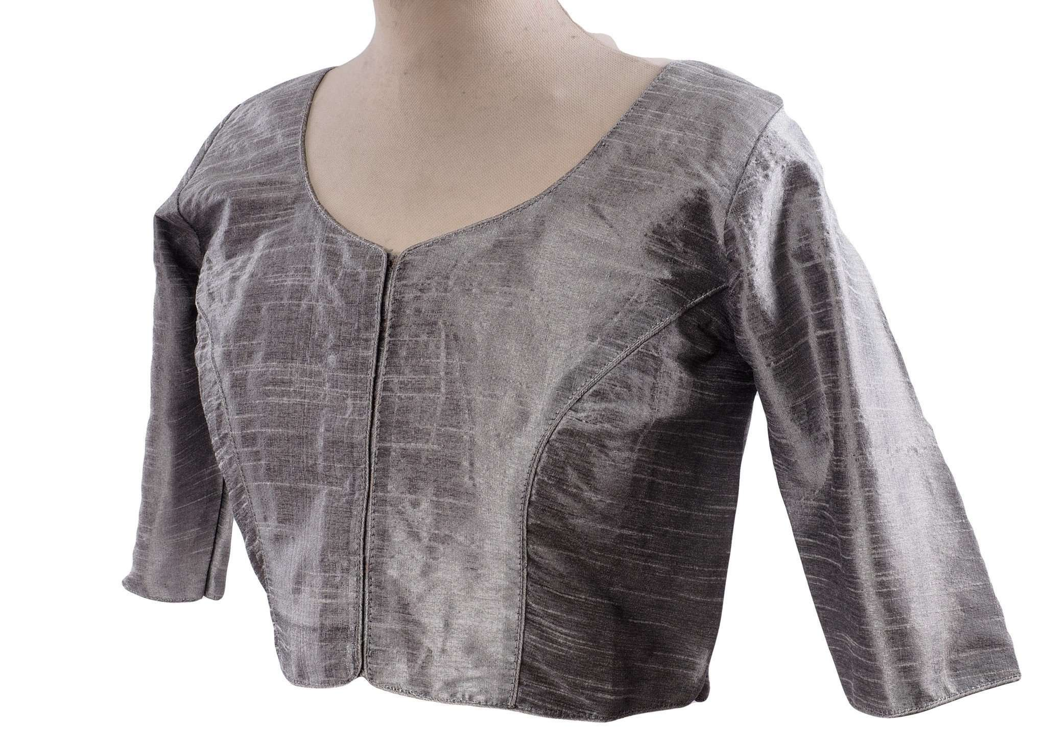 "Silver Grey Dupion Silk Saree blouse - size 34""-52"" - S, M, L, XL, XXL, XXXL and XXXXL - Bollywood - Prachy Creations"