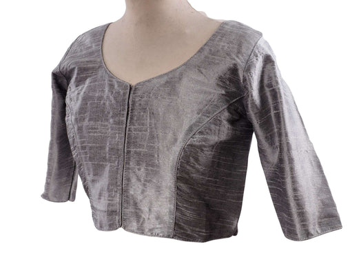 "Prachy Creations : Silver Grey Dupion Silk Saree blouse - size 34""-52"" - S, M, L, XL, XXL, XXXL and XXXXL - Bollywood, 34"" / Silver Grey"