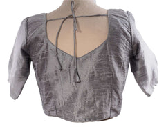 Silver Grey Dupion Silk Saree blouse - size 34