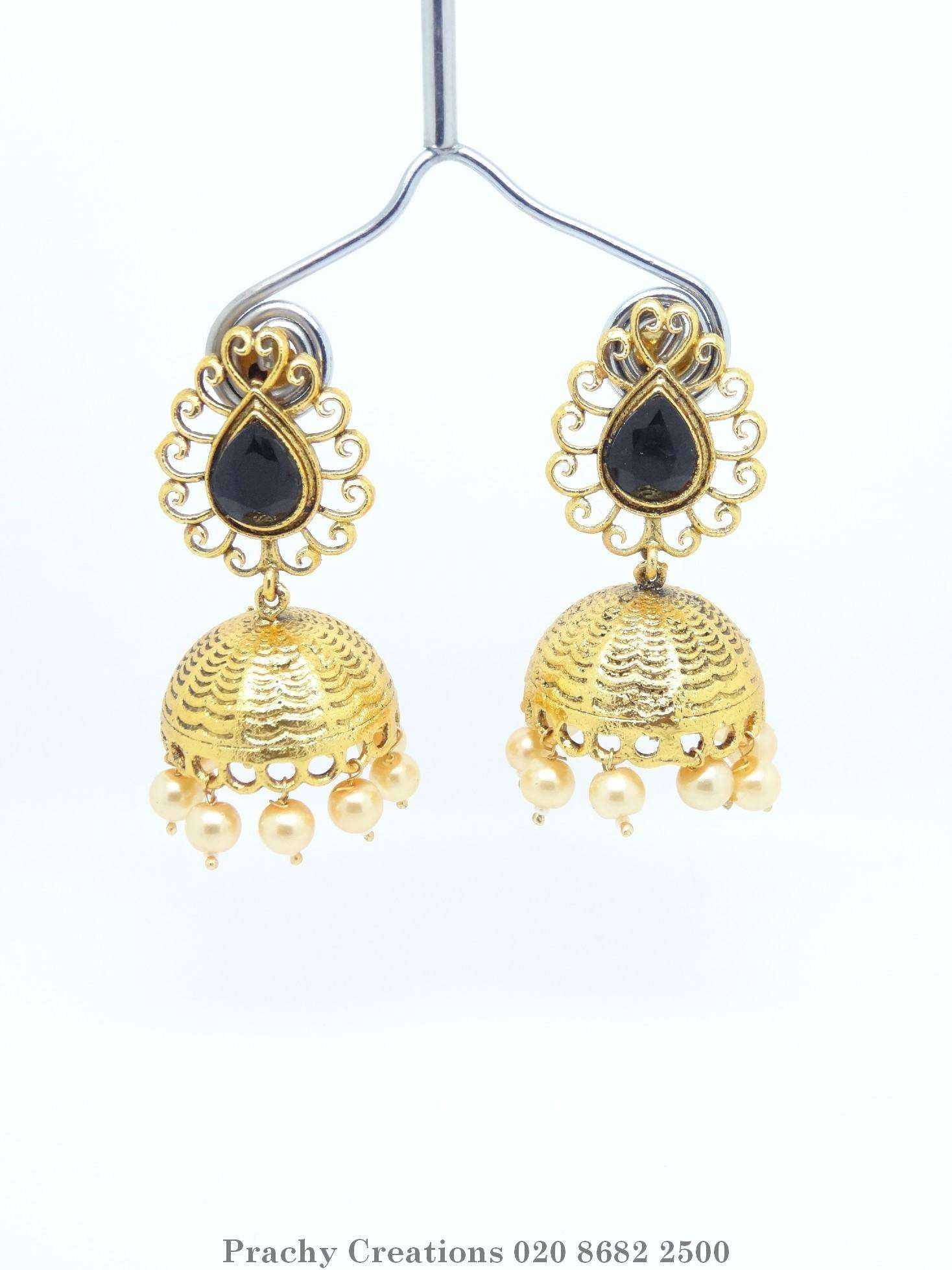 Soni 057 - Gold finish Indian earrings for bollywood parties T 0316 - Prachy Creations