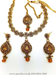 Prachy Creations : Soni 146 a - A classy Indian fashion jewellery set - 12 colours available, Bollywood,weddings, Gold