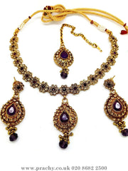 Prachy Creations : Soni 146 a - A classy Indian fashion jewellery set - 12 colours available, Bollywood,weddings, Purple