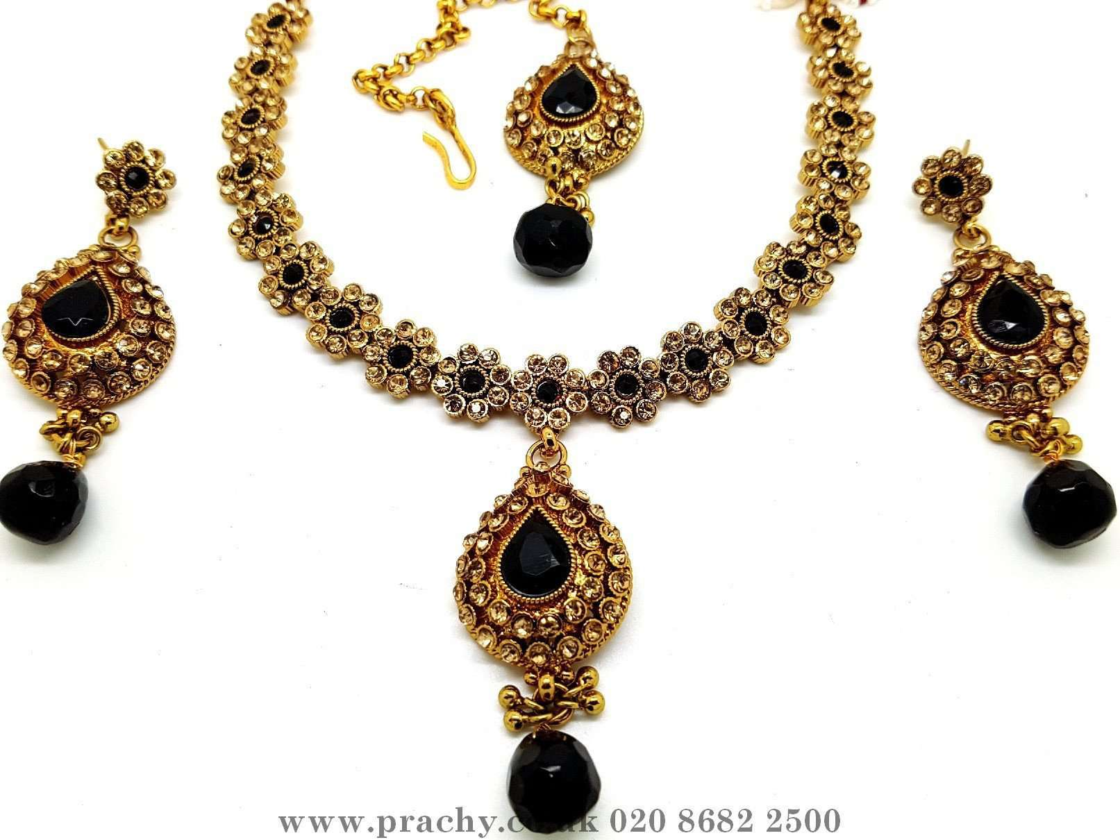 Prachy Creations : Soni 146 a - A classy Indian fashion jewellery set - 12 colours available, Bollywood,weddings, Black