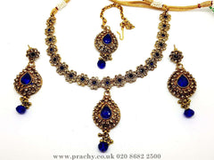 Prachy Creations : Soni 146 a - A classy Indian fashion jewellery set - 12 colours available, Bollywood,weddings, Blue