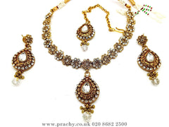 Prachy Creations : Soni 146 a - A classy Indian fashion jewellery set - 12 colours available, Bollywood,weddings, Gold / Clear