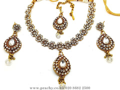 Prachy Creations : Soni 146 a - A classy Indian fashion jewellery set - 12 colours available, Bollywood,weddings, Clear