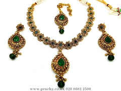 Prachy Creations : Soni 146 a - A classy Indian fashion jewellery set - 12 colours available, Bollywood,weddings, Green