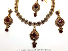 Prachy Creations : Soni 146 a - A classy Indian fashion jewellery set - 12 colours available, Bollywood,weddings, Maroon