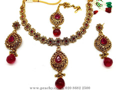 Prachy Creations : Soni 146 a - A classy Indian fashion jewellery set - 12 colours available, Bollywood,weddings, Magenta Rani