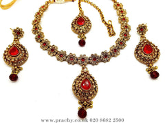 Prachy Creations : Soni 146 a - A classy Indian fashion jewellery set - 12 colours available, Bollywood,weddings, Red