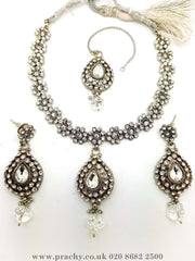 Prachy Creations : Soni 146 a - A classy Indian fashion jewellery set - 12 colours available, Bollywood,weddings, Silver