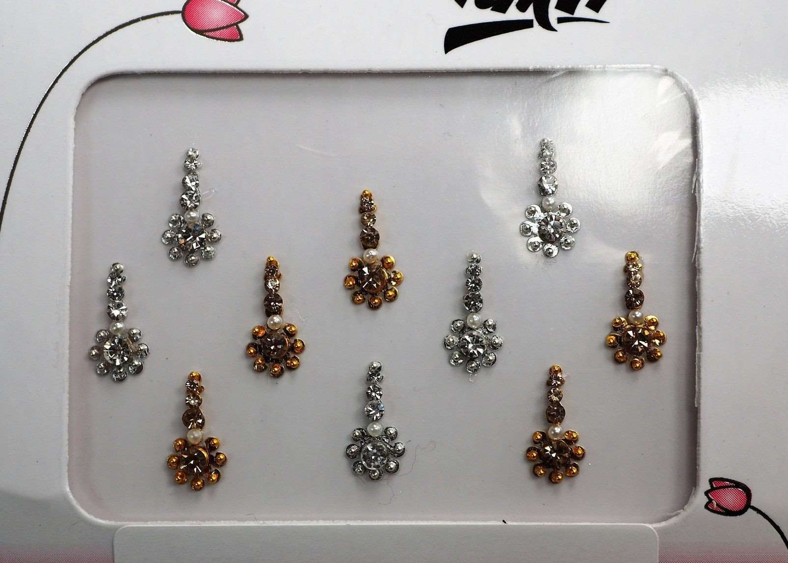 Prachy Creations : BollywoodParty - Pack of 10 small Silver/Gold Bindis-Party, fancy dress TN17051