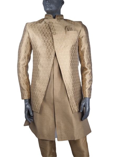 Mens Gold Brocade Sherwani set - With gold Churidar trousers - Bollywood Party Weddings - VFEW1901 KYY0819