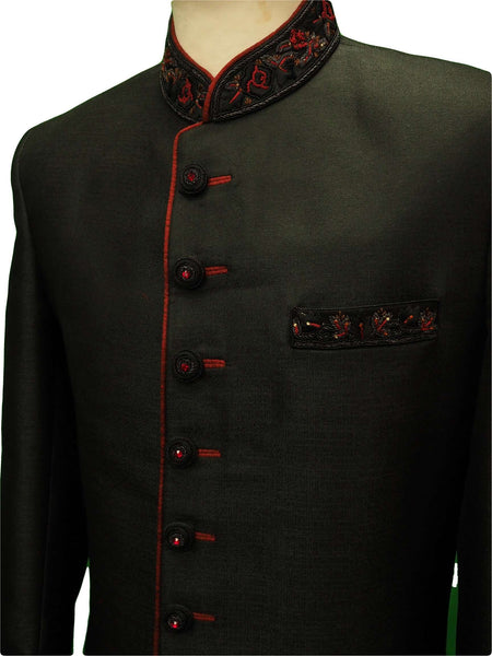 Prachy Creations : Mens Black Sherwani set - With red Churidar trousers - Bollywood Party Weddings - VFEW852RC