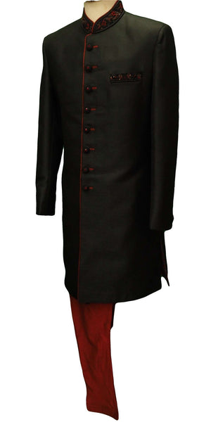 Mens Black Sherwani set - With red Churidar trousers - Bollywood Party Weddings - VFEW852 HY0819 - Prachy Creations