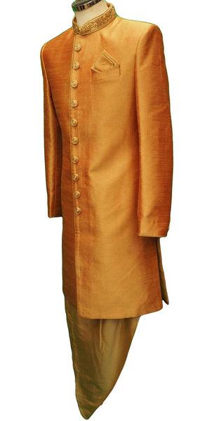 Mens Coral Sherwani set -with drawstringed trousers - Bollywood Party Weddings - VFEW853PV 1018 - Prachy Creations