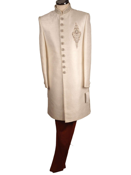 Prachy Creations : Prachy Creations-Mens White Sherwani set - With red trousers - Bollywood Party Weddings - VFEW856CY 1018