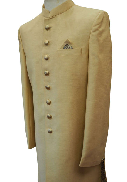 "Prachy Creations : Prachy Creations-Mens Ivory Gold  Sherwani set - With Salwar - Bollywood Party Weddings - VFEW859JY, 38"" / Gold / Raw Silk"