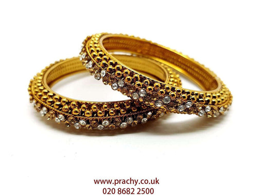 Prachy Creations : VJ243 kp - Pair of Antique finish stone Bangles / Kada for all occasions, 2.4 Sm / Beige/Clear