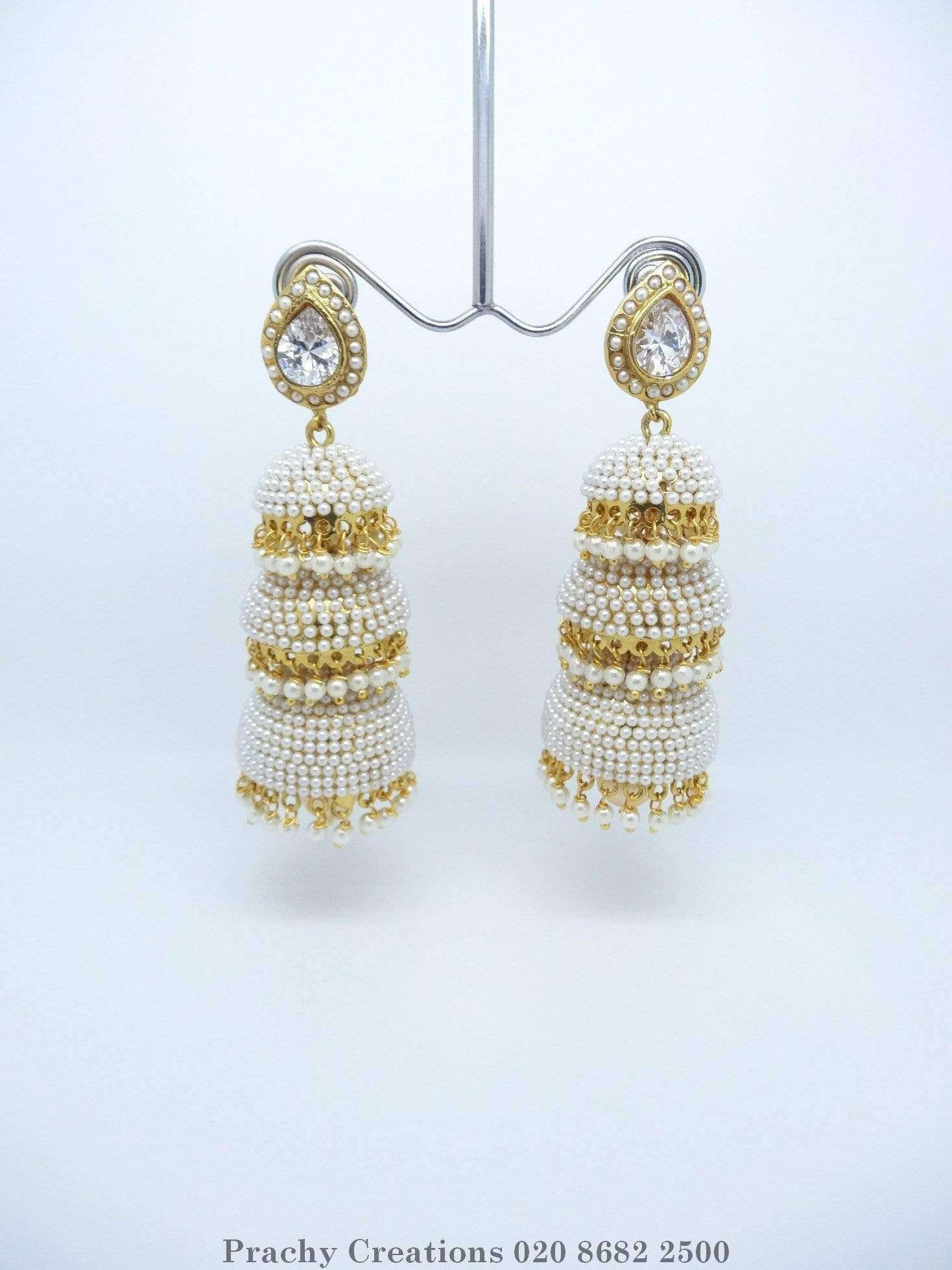 VJ 454 - Gold / pearl Indian Zhumki earrings for weddings and bollywood parties KY 0316 - Prachy Creations