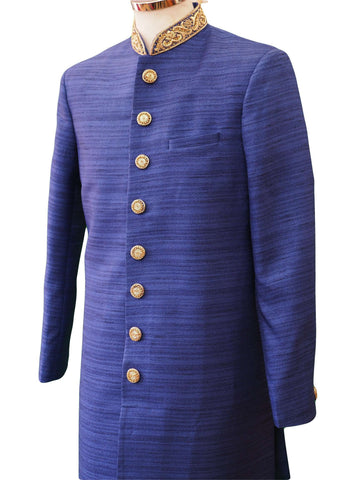 "Royal Blue Raw Silky Sherwani 38""-52"" / Small to XXXXL - SW-VL1802RY"