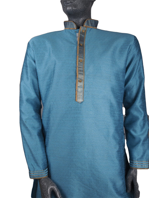 Mens Indian Kurta set in Light Blue , for weddings, Bollywood Party (with trousers) - YD1910 KV0819