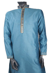 Mens Indian Kurta set in Light Blue , for weddings, Bollywood Party (with trousers) - YD1910 KV0819 - Prachy Creations