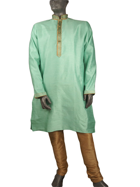 Mens Indian Kurta set in Sea Green , for weddings, Bollywood Party (with trousers) - YD1911 KV0819 - Prachy Creations