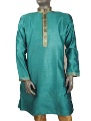 Mens Indian Kurta set in Turquoise , for weddings, Bollywood Party (with trousers) - YD1912 KV0819