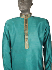 Mens Indian Kurta set in Turquoise , for weddings, Bollywood Party (with trousers) - YD1912 KV0819 - Prachy Creations