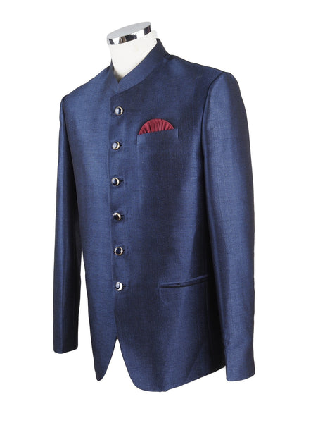 Navy Blue Mens BandhGala / Nehru / Prince / Chinese Collar Jacket - Silky - Fantastic Fit - YD1927 TP0819 - Prachy Creations