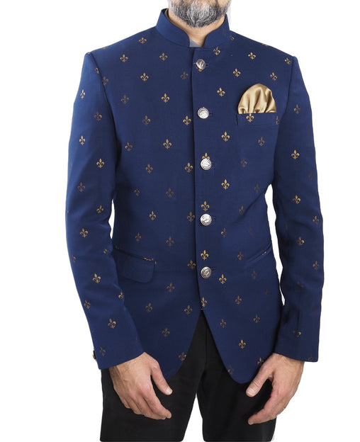 Navy Blue Mens BandhGala / Nehru / Prince / Chinese Collar Jacket - Suit Material - Fantastic Fit - YD1928 JP0919