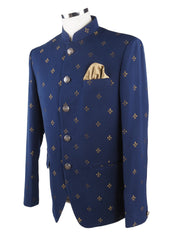 Navy Blue Mens BandhGala / Nehru / Prince / Chinese Collar Jacket - Suit Material - Fantastic Fit - YD1928 JP0919 - Prachy Creations