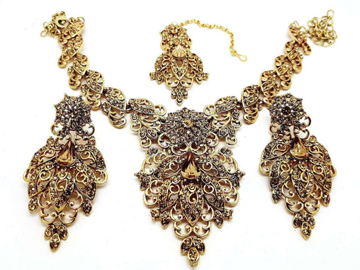 Prachy Creations : Antique gold finish Necklace, Earrings and Tika set - DC8722LCT KJ
