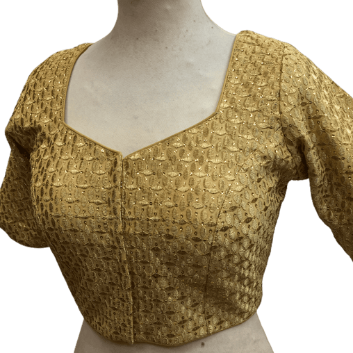Gold Sequence Embroidered Saree blouse - AF1926 Hp1219