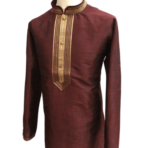 Mens Indian Kurta set in Maroon , for weddings, Bollywood Party (with gold trousers) - YD1934 KV0819